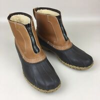 Vintage LL Bean Lounger Shearling Lined Leather Duck Boots Zip Front Size 10