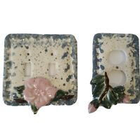 VTG Hand Painted Ceramic Double Light Switch Plug Plate Blue Pink Floral Retro