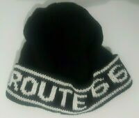 """New Black Beanie Hat """"Route 66"""" Design Extra Soft One Size Fits All *Unisex*"""