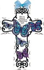 Joan Baker hand painted Crosses-Gx4012R-Blue Butterflies/Faith is. art glass