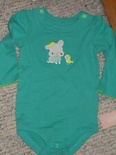 "NWT - Gymboree ""Tiny Teal"" long sleeved teal dog & bird top - 12-18 mos girls"