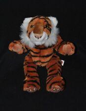 Peluche doudou tigre DOWMAN brun blanc rayé noir empreintes 30 cm NEUF