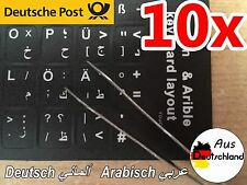 ⭐️✅⭐️✅ 10x Adhesivo de Teclado Árabe Alemán لصاقات كيبورد عربي ألماني ⭐️✅⭐️✅