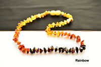 Genuine Natural Baltic Amber Adult Necklace Safe 16-27.5inch 11 COLOR Chip Beads