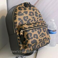 Coach F87754 Medium Charlie Backpack With Leopard Print Natural