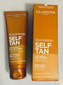 Clarins Self Tanning Milky Lotion 4.2 oz w/ fig extract, NEW in box, SEALED TUBE
