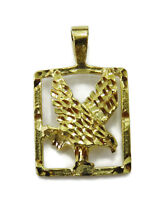10K Yellow Gold Flying Eagle Charm Necklace Pendant ~ 1.8g