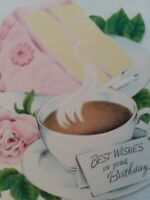 1950s vtg CUP of COFFEE & PINK Frosted CAKE Embossed BIRTHDAY GREETING CARD