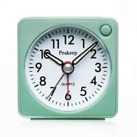 Ultra Small Battery Travel Alarm Clock with Snooze and Light, Silent