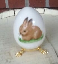 1980 Vintage Goebel W/Germany Bunny Rabbit Egg on Footed Stand - hand painted