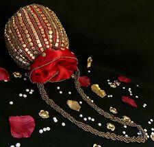 Bollywood Style Red Silk Potli Clutch Dolly Drawstring Pouch Indian Wedding Bags