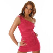 Sexy One Shoulder miniabito abito da borchie PINK ROSA TAGLIA M 36 38