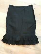 ODILLE Anthropologie Black Ruffle Ribbon Hem Skirt sz 0 S Day career