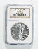 MS69 1991 American Silver Eagle - Graded NGC No Spots - Bright White