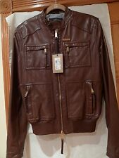 DSQUARED2  100%AUTHENTIC MEN'S BROWN LEATHER JACKET ITALY SIZE 50 / M