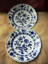 PAIR ANTIQUE FLOW BLUE BROWN WESTHEAD MOORE MEISSEN BLUE ONION SOUP BOWLS