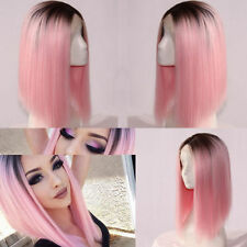 Heat Resistant Synthetic Lace Front Ombre Wigs Medium Straight Bob Wig + Wig Cap