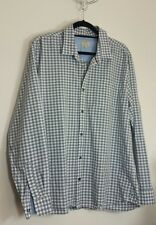 Easy Mens Blue Grey Check Long Sleeves Cotton Shirt Size XL