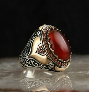 Ruby Men's Ring 925 Sterling Silver Handmade Turkish Ruby Men's Ring Size 7-13