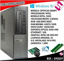 TORRE SOBREMESA ORDENADOR DELL OPTIPLEX INTEL G620 2,6GHZ 4GB RAM 120GB SSD W10