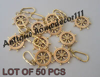 Nautical Brass Wheel Compass Key Chain Collectible Key Ring Lot Of 50 Pcs Gift..