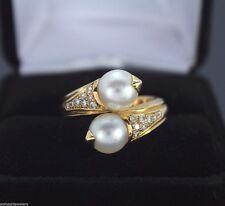 bvlgari bulgari 18k yellow gold 032ct diamond akoya pearl bypass ring band 55