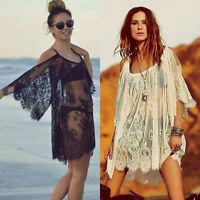 Sexy Women Embroidery Sheer Top Blouse Lace Crochet Chiffon Off Shoulder Shirt