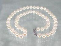 "GORGEOUS AKOYA WHITE 6-6.5mm AAA+ ROUND PEARL 18"" NECKLACE 14K GOLD CLASP"