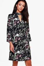 Boohoo Tall Aenea Dark Floral Wrap Dress Black Size UK 12 LF088 BB 02