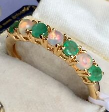 14k GOLD ON SILVER WELO FIERY OPAL  Emerald Eternity Band RING SIZE R ( 1.000cts