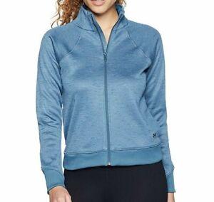 Under Armour Women's L, XL Fleece Sweatshirt Full Zip Static Blue Long Sleeve