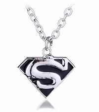 Superman Pendant Necklace with Chain Super Man Logo Silver Colour Black SLV S