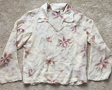 TOMMY BAHAMA Women's Floral Silk See-through Blouse Size Medium