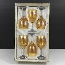 NEW!! 6 Cristalleria Fratelli Fumo GOLD Wine Glasses  Made in Italy