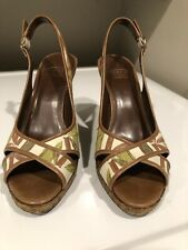 Circa Joan & David Size 8M Floral Sandal Peep Toe Wedge Platform Slingback Shoes