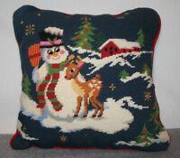 Vintage Christmas Needlepoint Pillow Snowman Reindeer Red Velvet Backing