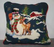 Vintage Christmas Needlepoint Pillow Snowman Reindeer Red Velvet Backing