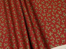 Weihnachtsstoff Ilex auf rot Baumwoll Stoff 0,5m