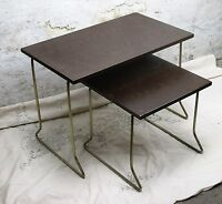 Vintage Wooden Nesting Side Tables Danish Modern style Mid Century 2 pieces