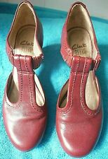 WOMENS CLARKS ACTIVE AIR DARK RED LEATHER T-BAR COURT SHOES UK SIZE 6 D EU 39.5