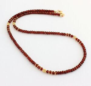 Nobile Granato Collana Pietre Preziose Sfaccettato Rosso 925 Argento Donna 47 CM