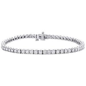 "14K White Gold Round Diamond 3.25mm Prong Set Tennis Bracelet 7.50"" 3.92 CT"