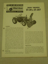 WHEEL HORSE TRACTOR ST-30 & ST-307 SNOW THROWER PARTS LIST MANUAL