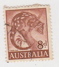 (W1383) 1959 AU 8d brown tiger cat (L)