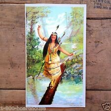 Original Vintage INDIAN MAIDEN Chromolithograph Western Art Print 1905 NOS