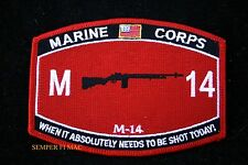 MOS M-14 WHEN IT ABSOLUTELY...DESTROYED HAT PATCH US MARINES PIN UP COIN VET WOW