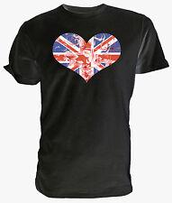 Union Jack Flag Heart & Flowers T shirt - Choice of size & colours.