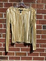 Roberto Cavalli Italy White Gold Chainlink Luxe Stretch Bodycon Top Small Blouse