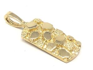 "10k Yellow Gold Rectangle Nugget Charm Pendant 1.15"" 2.8 grams"