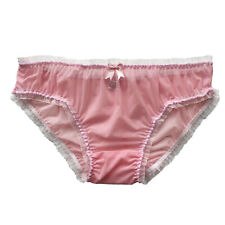 Sissy Sheer Soft Nylon Low Rise Frilly Panties Knickers Briefs CD TV Size 10-20